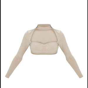 Stone long sleeve front crop top